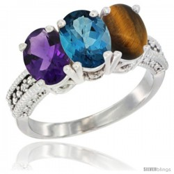 14K White Gold Natural Amethyst, London Blue Topaz & Tiger Eye Ring 3-Stone 7x5 mm Oval Diamond Accent