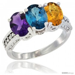 14K White Gold Natural Amethyst, London Blue Topaz & Whisky Quartz Ring 3-Stone 7x5 mm Oval Diamond Accent