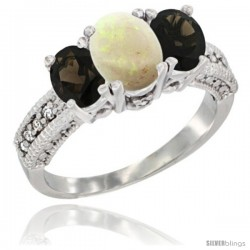 10K White Gold Ladies Oval Natural Opal 3-Stone Ring with Smoky Topaz Sides Diamond Accent