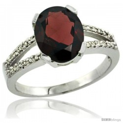 Sterling Silver and Diamond Halo Natural Garnet Ring 2.4 carat Oval shape 10X8 mm, 3/8 in (10mm) wide