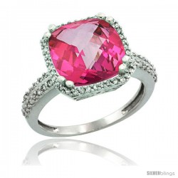 10k White Gold Diamond Halo Pink Topaz Ring Checkerboard Cushion 11 mm 5.85 ct 1/2 in wide