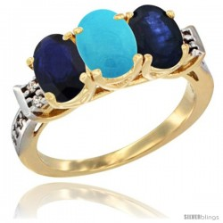 10K Yellow Gold Natural Turquoise & Blue Sapphire Sides Ring 3-Stone Oval 7x5 mm Diamond Accent