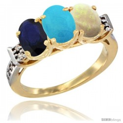 10K Yellow Gold Natural Blue Sapphire, Turquoise & Opal Ring 3-Stone Oval 7x5 mm Diamond Accent