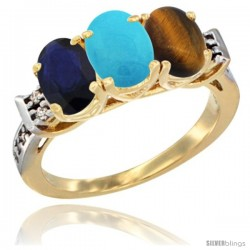 10K Yellow Gold Natural Blue Sapphire, Turquoise & Tiger Eye Ring 3-Stone Oval 7x5 mm Diamond Accent