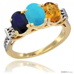 10K Yellow Gold Natural Blue Sapphire, Turquoise & Whisky Quartz Ring 3-Stone Oval 7x5 mm Diamond Accent