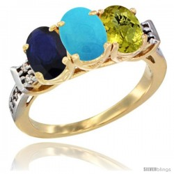 10K Yellow Gold Natural Blue Sapphire, Turquoise & Lemon Quartz Ring 3-Stone Oval 7x5 mm Diamond Accent