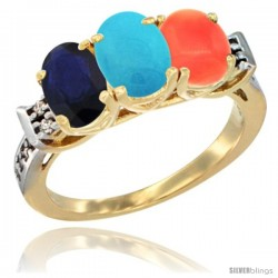 10K Yellow Gold Natural Blue Sapphire, Turquoise & Coral Ring 3-Stone Oval 7x5 mm Diamond Accent