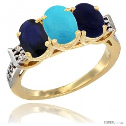 10K Yellow Gold Natural Blue Sapphire, Turquoise & Lapis Ring 3-Stone Oval 7x5 mm Diamond Accent