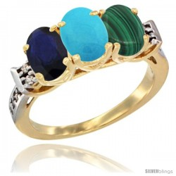 10K Yellow Gold Natural Blue Sapphire, Turquoise & Malachite Ring 3-Stone Oval 7x5 mm Diamond Accent