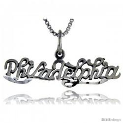 Sterling Silver Philadelphia Talking Pendant, 1 in wide