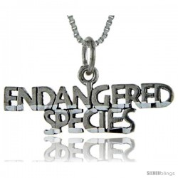 Sterling Silver Endangered Species Talking Pendant, 1 in wide