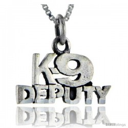 Sterling Silver K9 Deputy Talking Pendant, 1 in wide