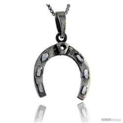 Sterling Silver Horseshoe Pendant, 1 1/4 in tall