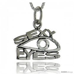 Sterling Silver Sexy Eyes Talking Pendant, 1 in wide
