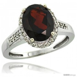 Sterling Silver Diamond Natural Garnet Ring 2.4 ct Oval Stone 10x8 mm, 1/2 in wide