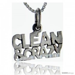 Sterling Silver Clean and Crazy Talking Pendant, 1 in wide