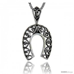 Sterling Silver Filigree Horseshoe Pendant, 7/8 in tall