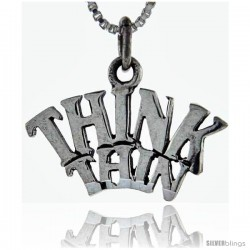 Sterling Silver Think Thin Talking Pendant, 1 in wide