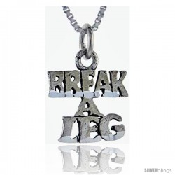 Sterling Silver Break a Leg Talking Pendant, 1 in wide