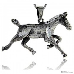 Sterling Silver Horse Pendant, 1 in tall -Style Pa96