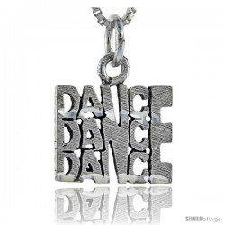 Sterling Silver Dance Dance Dance Talking Pendant, 1 in wide