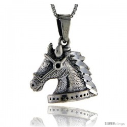 Sterling Silver Horse Head Pendant, 3/4 in tall -Style Pa97