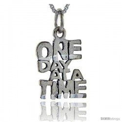 Sterling Silver One Day At A Time Talking Pendant, 1 in wide