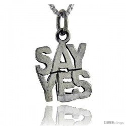 Sterling Silver Say Yes Talking Pendant, 1 in wide -Style Pa979