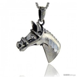 Sterling Silver Horse Head Pendant, 1 1/4 in tall