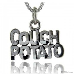 Sterling Silver Couch Potato Talking Pendant, 1 in wide