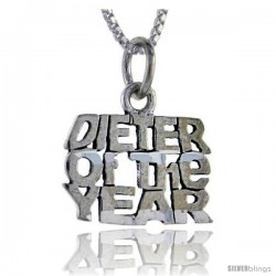 Sterling Silver Dieter of the Year Talking Pendant, 1 in wide
