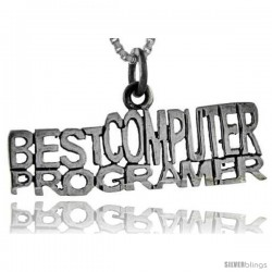 Sterling Silver Best Computer Programmer Talking Pendant, 1 in wide
