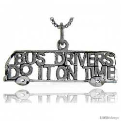 Sterling Silver Bus Drivers do it on Time Talking Pendant, 1 in wide