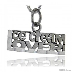 Sterling Silver Ice Cream Lover Talking Pendant, 1 in wide