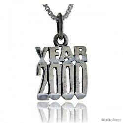 Sterling Silver Year 2000 Talking Pendant, 1 in wide