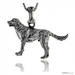 Sterling Silver Golden Retriever Dog Pendant