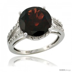 Sterling Silver Diamond Natural Garnet Ring 5.25 ct Round Shape 11 mm, 1/2 in wide