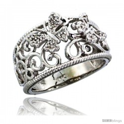 14k White Gold Butterfly & Swirls Diamond Ring w/ 0.11 Carat Brilliant Cut Diamonds, 7/16 in. (11.5mm) wide