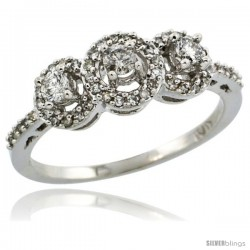 14k White Gold 3-Stone Diamond Engagement Ring 0.375 cttw Brilliant Cut Diamonds 1/4 in wide