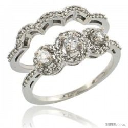 14k White Gold 2-Piece Diamond Engagement Ring Set 0.48 cttw Brilliant Cut Diamonds 5/16 in wide