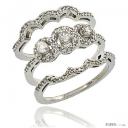 14k White Gold 3-Piece Diamond Engagement Ring Set 0.585 cttw Brilliant Cut Diamonds 3/8 in wide