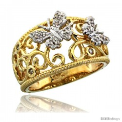 14k Gold Butterfly & Swirls Diamond Ring w/ 0.11 Carat Brilliant Cut Diamonds, 7/16 in. (11.5mm) wide