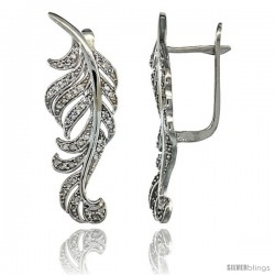 14k White Gold Large Leaf Diamond Earrings w/ 0.82 Carat Brilliant Cut ( H-I Color VS2-SI1 Clarity ) Diamonds