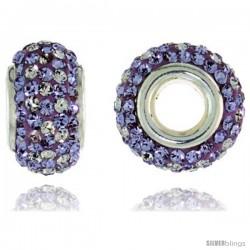 Sterling Silver Crystal Bead Charm White & Light Violet Color w/ Swarovski Elements, 13 mm