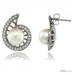 14k White Gold Swirl Pearl Earrings w/ 0.33 Carat Brilliant Cut ( H-I Color VS2-SI1 Clarity ) Diamonds & 7mm White Pearls