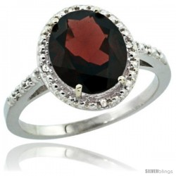 Sterling Silver Diamond Natural Garnet Ring 2.4 ct Oval Stone 10x8 mm, 1/2 in wide -Style Cwg10111