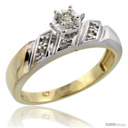 Gold Plated Sterling Silver Diamond Engagement Ring, 3/16 in wide -Style Agy116er