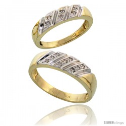Gold Plated Sterling Silver Diamond 2 Piece Wedding Ring Set His 6mm & Hers 5mm -Style Agy116w2
