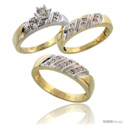 Gold Plated Sterling Silver Diamond Trio Wedding Ring Set His 6mm & Hers 5mm -Style Agy116w3