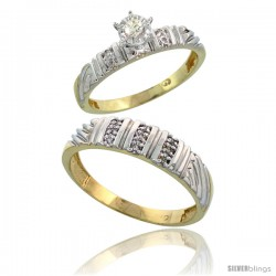 Gold Plated Sterling Silver 2-Piece Diamond Wedding Engagement Ring Set for Him & Her, 3.5mm & 5mm wide -Style Agy117em